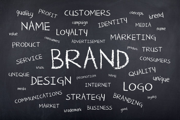 Business brand strategy concept with word cloud